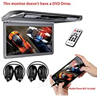 XTRONS 13.3 HD 1080P Video Car MPV Roof Flip Down Slim Monitor Overhead Player Wide Screen Ultra-thin with HDMI Input 2PCS IR Headphones Included No DVD