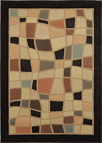"Latest Casual 8x11 Area Rug Large Contemporary Carpet - Actual 7'10"" x 10'5"" [ Black Mosaic Pieces]"
