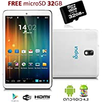 Indigi 7 Tablet PC Android 4.2 Jelly Bean White Leather Back HDMI 32GB MicroSD