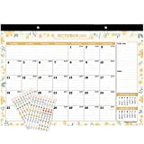 """Mokani Desk Calendar Oct. 2020 - Dec. 2021, Large Monthly Wall Calendar with Plastic Cover: 17""""x12"""", 18 Months Academic Year Desk Pad Calendars with Bonus Planner Stickers"""