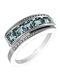 1.25ctw Genuine Blue Topaz Square & Solid .925 Sterling Silver Rings