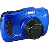 Coleman 20.0 Mega Pixels Waterproof HD Digital Camera with 4x Optical Zoom & 3 LCD Screen, Blue (C30WPZ-BL)
