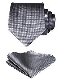 HISDERN Check Geometric Wedding Tie Handkerchief Men's Necktie & Pocket Square Set