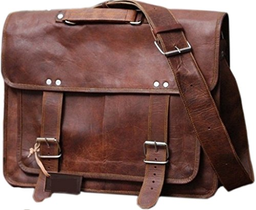 Phoenix Craft 18 Inch Vintage Handmade Leather Messenger Bag for Laptop Briefcase Satchel Bag 18X13X6 Inches Brown …