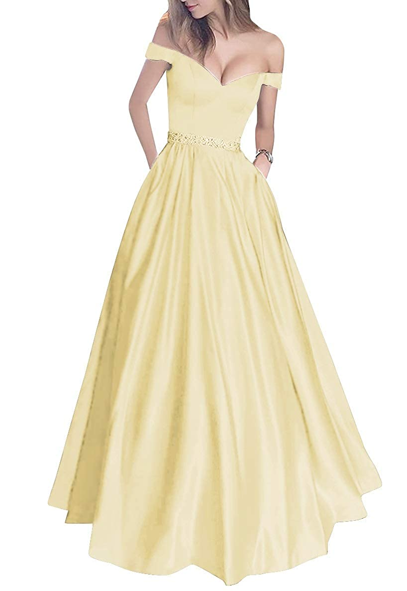 Daffodil MorySong Women's Off Shoulder Long Prom Dress with Pockets Beading Evening Gown