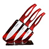 """Kitchen White Blade Ceramic Knife Set Cooking Tools Red Handle"" shopping"