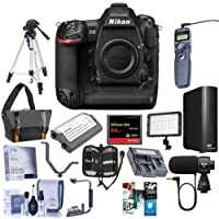 Nikon D5 FX-Format DSLR Camera Body (CF Version) - Bundle With Camera Bag, Spare Battery, 64GB CF Card, 4TB External Hard Drive, Tripod, Remote Shutter Trigger, Video Light, Software Package, And More