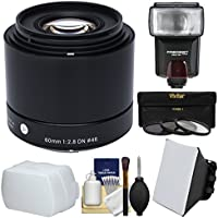 Sigma 60mm f/2.8 DN ART Lens with 3 Filters + Flash + Bounce Diffuser + Soft Box + Kit for Olympus / Panasonic Micro 4/3 Digital Cameras