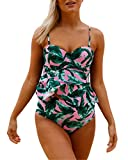Coconut Oil Before Bleaching Hair Anzona Womens Floral Print Green Leaf Underwired Tankini Set Two Piece Push Up Swimsuit XL