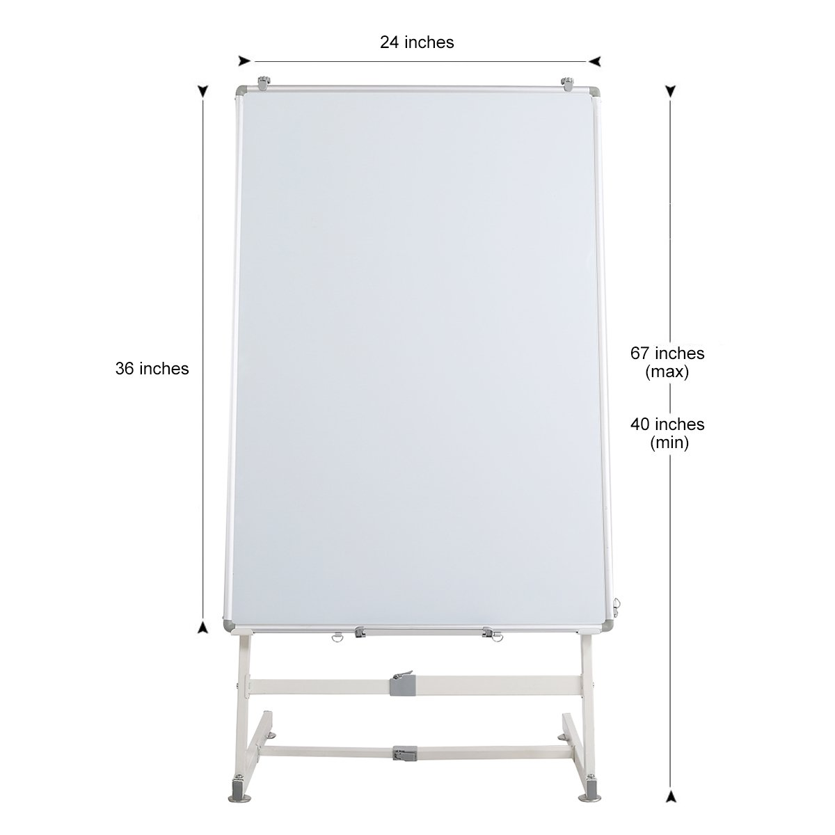 ZHIDIAN Magnetic whiteboard 24X36 Inch Dry Erase Board mobile easel stand /4 markers and 1 eraser 8 Magnets