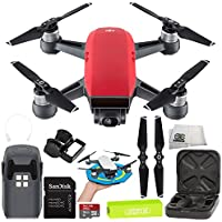 DJI Spark Portable Mini Drone Quadcopter Starter Palm Landing Pad Bundle (Lava Red)