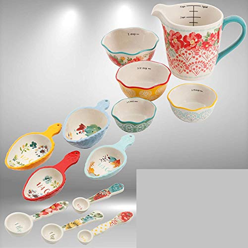 Bundle: The Pioneer Woman Willow 8-Piece Measuring Spoon and Scoop Set Bundled with The Pioneer Woman 5-Piece Prep Set, Measuring Bowls & Cup with Free LED Lamp