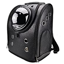 Khore Bubble Pet Carrier Backpack for Small Dogs and Cats with Window (Black)