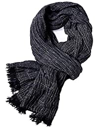 Men's Cotton Scarf, Fashion Crinkled Long Scarves for Men Autumn Winter Lightweight 74.8IN × 39.4IN