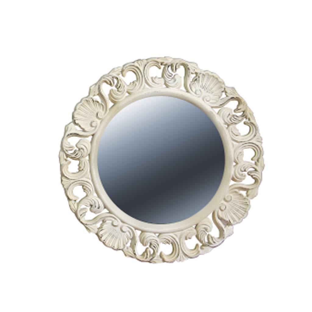 LSJ SHOP Vintage dekorativer Spiegel europäischer Badezimmerspiegel Alter Spiegel Schlafzimmer Kosmetikspiegel 48  48cm (Farbe    1)