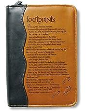 Italian Duo-Tone Footprints Tan Medium Book and Bible Cover