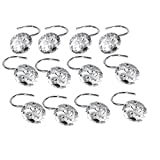 Decorative Shower Curtain Hooks, 12 x Bathroom Shower Curtain Hooks Slide Rolling Crystal Rhinestone Zinc Bling Alloy Silver Decoration