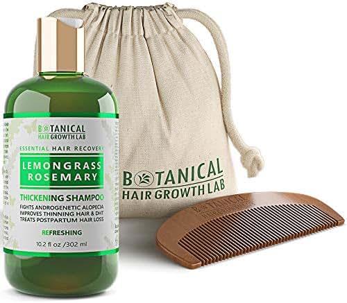 Hair Growth Shampoo Step 2: Lemongrass-Rosemary Lab Formulated Anti-Hair Loss Botanical DHT Blocker and Alopecia Prevention 10.2 Oz