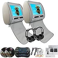 Eincar Region Free Car Dvd Headrests PlayerPair of Headrest DVD Player Pillow Monitors 9 Inch LCD Gray 32 Bit Games DVD/USB/SD/VIDEO Monitors + 2 Wireless Remote Control+ 2 Infrared Headphones