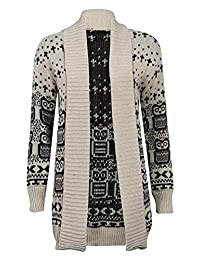 REAL LIFE FASHION LTD. Owl Print Knitted Open Front Jumper Top
