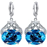 Fashion Women 925 Sterling Silver Blue Topaz Stud Dangle Hoop Earrings Jewelry