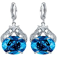 Fashion Women 925 Sterling Silver Blue Topaz Stud Dangle Hoop Earrings Jewelry