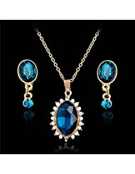 Hot Luxury 18K Gold Plated Necklace Earrings Jewlery Sets Sapphire Crystal Rhinestone Womens Jewelry Sets^