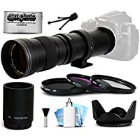 Opteka 420-1600mm f/8.3 HD Telephoto Zoom Lens Bundle Package includes 2X Teleconverter + 3 Piece UV-CPL-FL Filters + Tulip Hood + Cap Keeper + Lens Cleaning Kit for Canon EOS M / M2 DSLR SLR Digital Camera