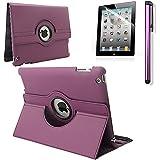 RUBAN 360 Degree Rotating Automatic Wake/Sleep Stand Case with Screen Protector for Apple iPad 2 / iPad 3 / iPad 4 - Purple