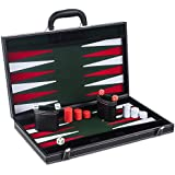 Smart Tactics Premium Backgammon Set - Large 17'' Wood & PU Leather Folding Backgammon Board Game - Green / White / Red Felt Interior - Includes Dice Cups, Doubling Cube & Instruction Manual