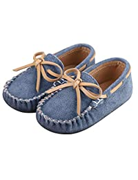 Toddler Boy's Girl's Suede Moccasin Loafers Slip on Flats Boat Shoes Soft Indoor Outdoor Slippers