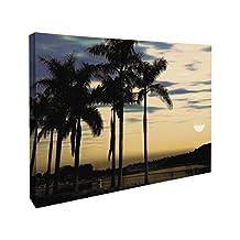 J.P. London CNV2213 Tropical Sunset Beach Palm Trees in The Clouds Canvas Art Wall Decor, 1.5x2-Feet