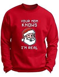 Your Mom Knows I'm Real Winking Santa Christmas Premium Crewneck Sweatshirt
