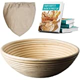 OBeauty 7 inch Banneton Proofing Basket [FREE Cloth Liner] - Perfect Size for Artisan Bread Dough Proofing and Rising - Eco-friendly Round Brotform Bowl