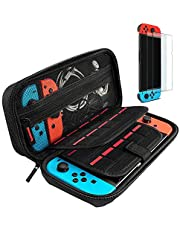 Hestia Goods case Compatible with Nintendo switch Hard Carry case and Tempered screen protector - 20 Game Cartridge Travel carry case, with 2-pack Bubble Free Glass screen protector for Nintendo Switch
