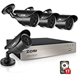 ZOSI 1080p HD-TVI Outdoor Surveillance System,8CH 1080p CCTV DVR and (4) HD 2.0MP Weatherproof Bullet Security Cameras,42pcs IR Leds 120ft(40m) IR night vision 1TB Hard Drive (Certified Refurbished)