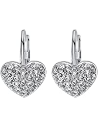 Fashion CZ Stud Eariings Crystal Diamond Hoop earrings for Women Girls Silver/Gold(valentines day gift)
