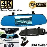 4K ULTRA Universal 5.2 Monitor 1296P Full HD Blue Tint Front/Backup Rear Camera Video Recorder DVR Cam Inside Mirror