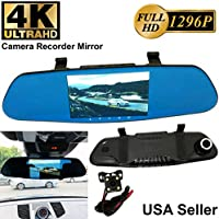 4K ULTRA 5.2 in Full HD 1296P Blue 300mm Car Front/Back Up Reverse Rear Camera Video Recorder Rearview Rear-View Mirror