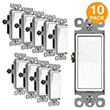ENERLITES Decorator Paddle Rocker Light Switch, Single Pole, 3 Wire, Grounding Screw, Residential Grade, 15A 120V/277V, UL Listed, 91150-W-10PCS, White (10 Pack), 15A-10 Piece