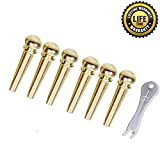 Guitar Bridge Pins Pegs Guitar Parts 6pcs Brass Copper for Acoustic Guitar With Guitar Bridge Endpin Replacement Parts for Guitar