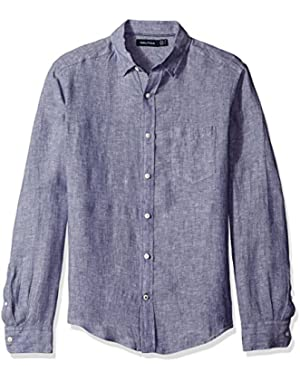 Men's Long Sleeve Solid Color Button Down Linen Shirt