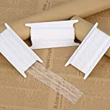 Whaline Assorted Pattern White Lace Trim Ribbon