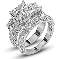 wanmanee 925 Silver White Sapphire Birthstone Engagement Wedding Jewelry Ring Set Sz 6-10 (7)