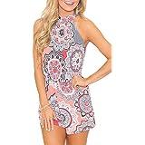 Spadehill Women Cute Strap Summer Boho Jumpsuit Cotton Sleeveless Casual Floral Print Beach Short Romper Pink L