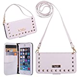 iPhone 5/5S Wallet Case, True Color© Premium Studded Leatherette Wristlet / Cross Body Clutch Folio Wallet Purse Clubbing Case Cover + Stand Feature - White