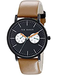 Ted Baker Mens 10024530 Black Stainless Steel Watch with Brown Leather Band