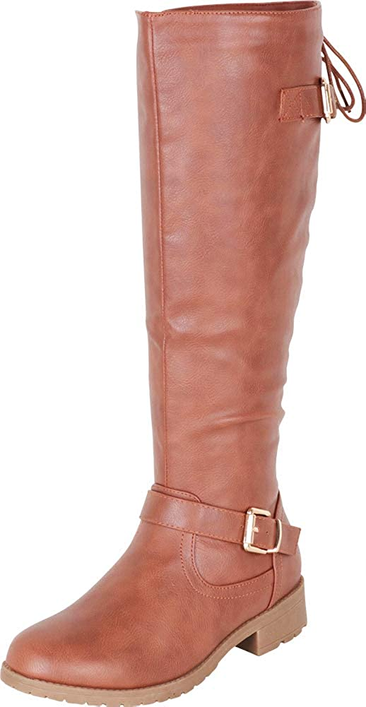 Tan Pu Cambridge Select Women's Back Corset Lace Strappy Buckle Riding Knee-High Boot