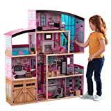 KidKraft Shimmer Mansion Wooden Dollhouse for 12-Inch Dolls with Lights & Sounds and 30-Piece Accessories, Gift for Ages 3+ , Pink