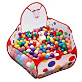 FocuSun Extra Large Portable Cute Hexagon Polka Dot Kids Playpen Ball Pit Indoor and Outdoor Easy Folding Play House Children Toy Play Tent with Basketball Hoop & Zippered Storage Bag